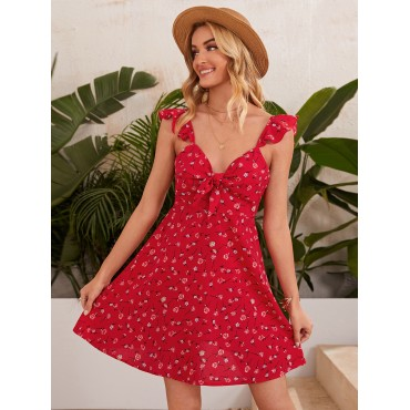 Allover Floral Print Knot Front Ruffle Trim Dress