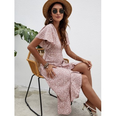 Ditsy Floral Print Butterfly Sleeve Knot Side Wrap Dress