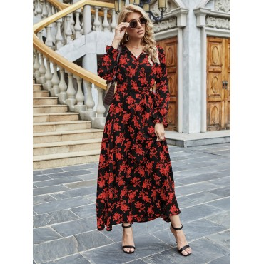 All Over Floral Print Flounce Sleeve Belted Dress