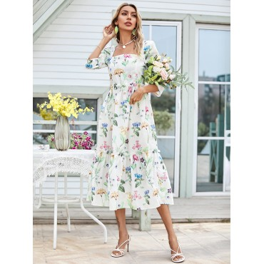All Over Floral Print Square Neck Ruffle Hem Dress