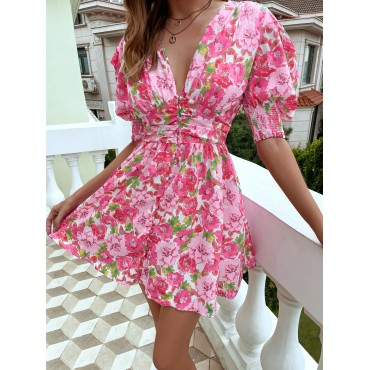 Allover Floral Print Puff Sleeve A-line Dress