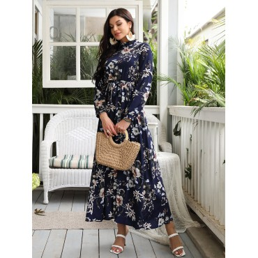 Allover Floral Print Self Tie Swing Maxi Dress
