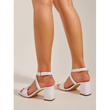 Braided Strap Ankle Strap Chunky Sandals